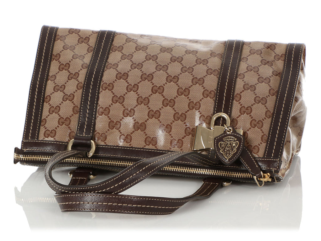 Gucci Brown Crystal Monogram Duchessa Bag