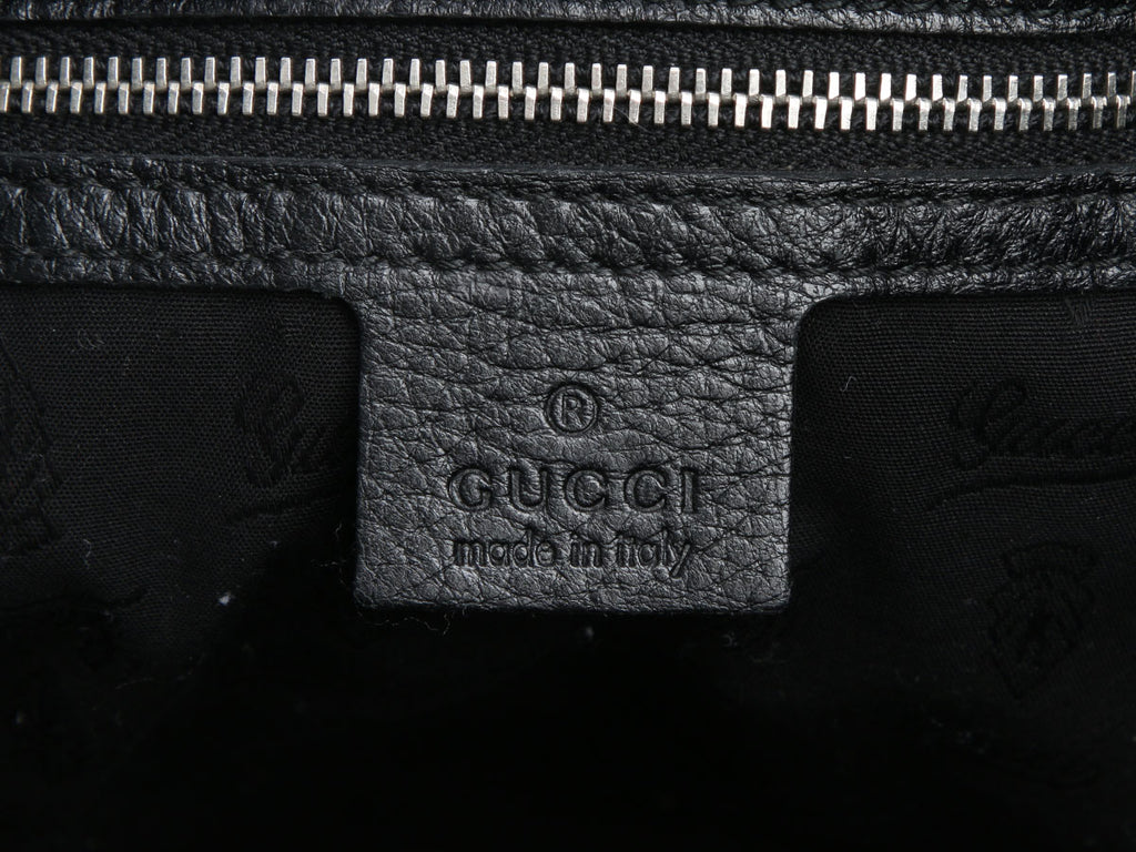 Gucci Black Leather Croisette Chain Bamboo Bag