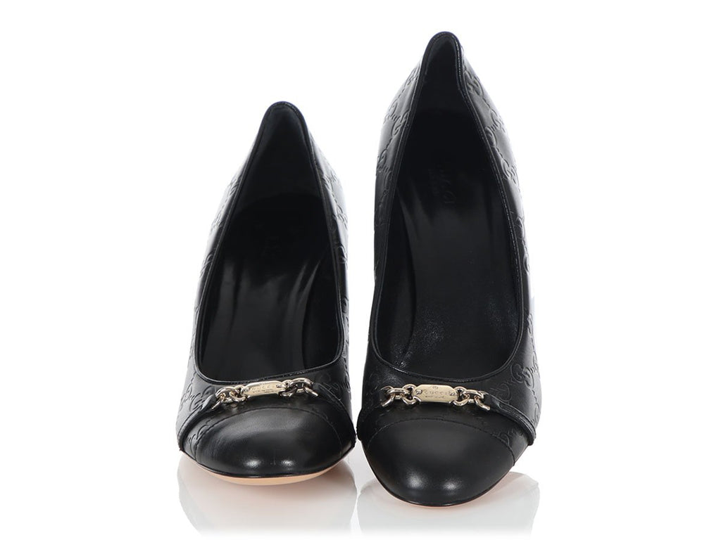 Gucci Black Guccissima Leather Pumps