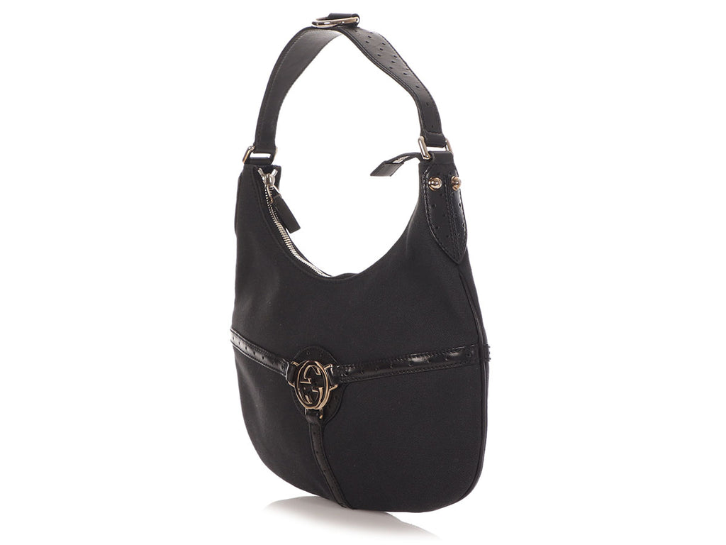 Gucci Black Canvas Reins Hobo