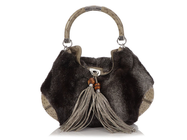 Gucci Large Gray Mink and Ostrich Indy Hobo