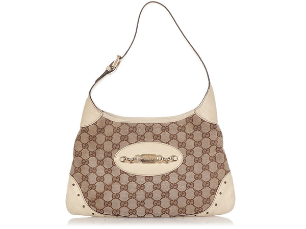 Gucci Cream Logo Canvas Shoulder Bag