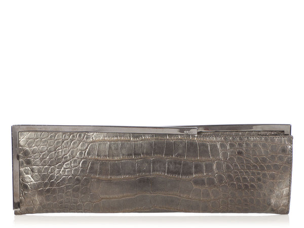 Gucci Pewter Long Crocodile Embossed Frame Clutch