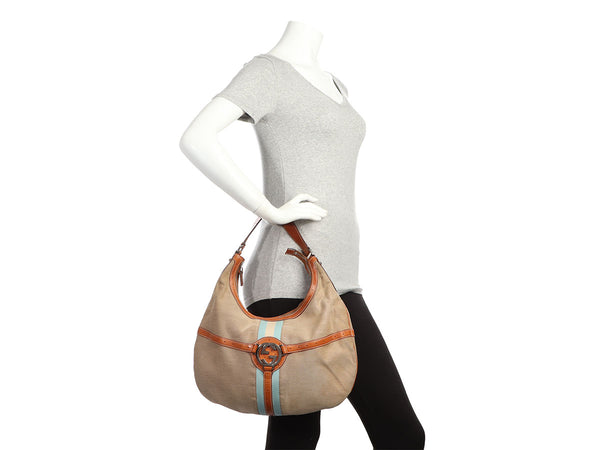Gucci Beige Canvas Reins Hobo