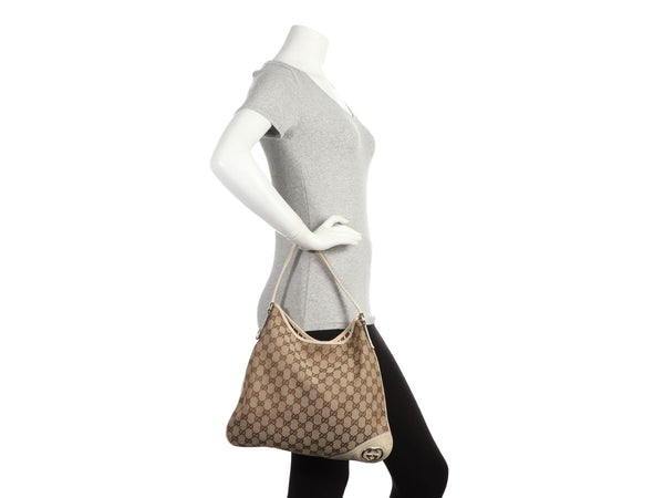 Gucci Cream GG Canvas Britt Hobo