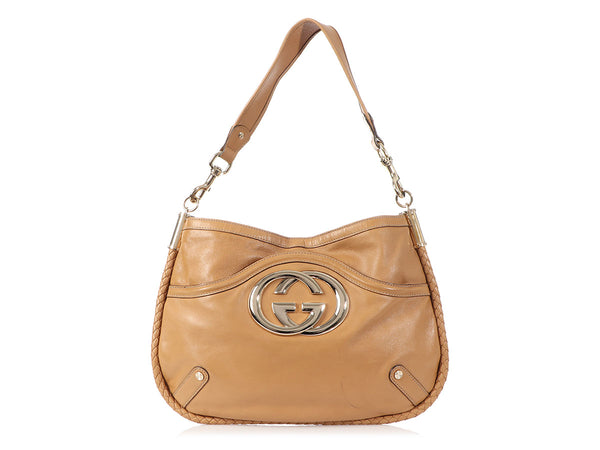 Gucci Medium Tan Signature Britt Hobo