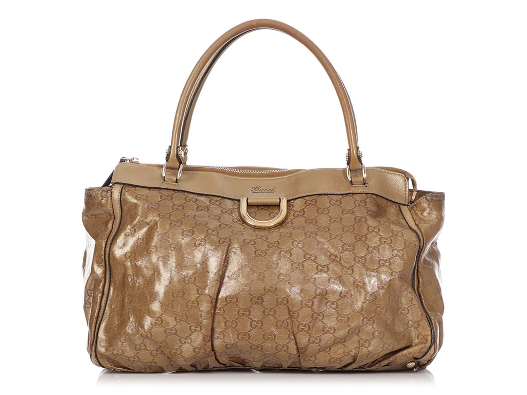 Gucci Bronze GG Crystal D-Ring Tote