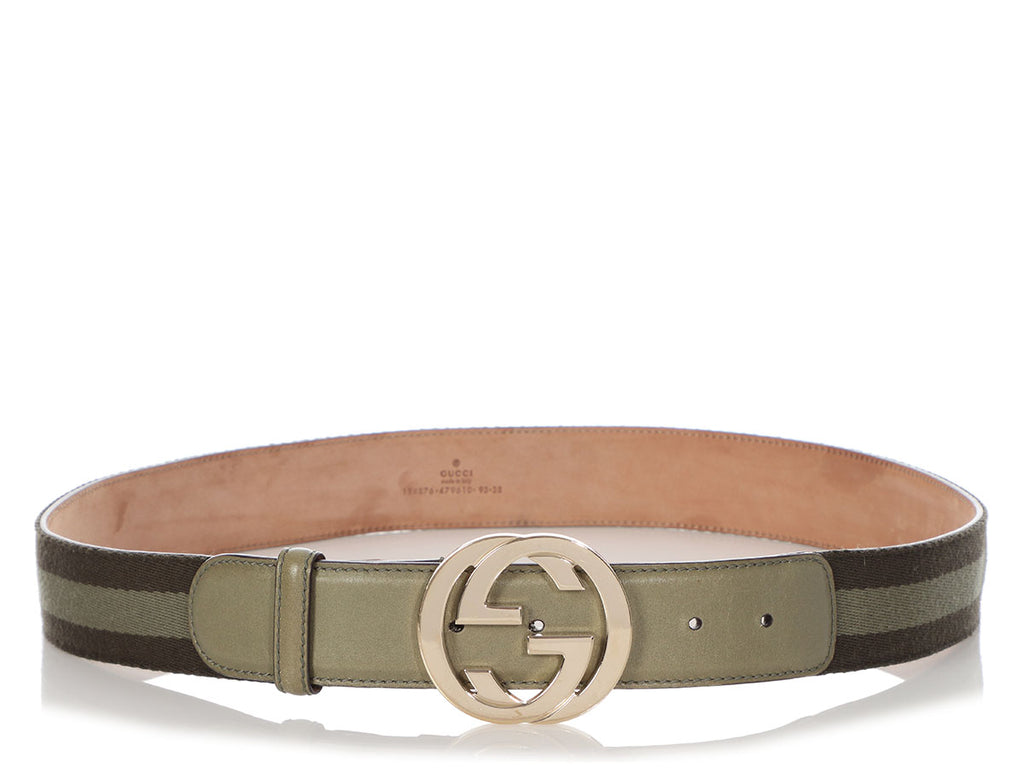 Gucci Green Webbing GG Belt