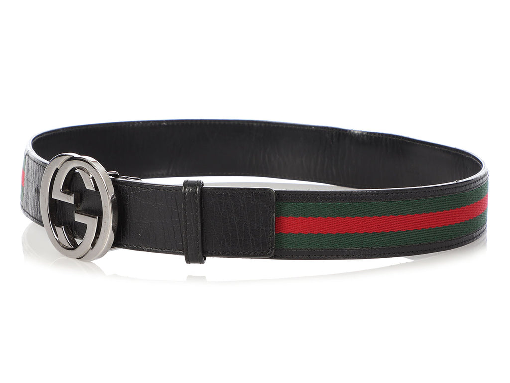 Gucci Striped Webbing and Leather Belt