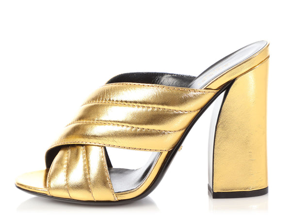 Gucci Metallic Gold Sylvia Mules