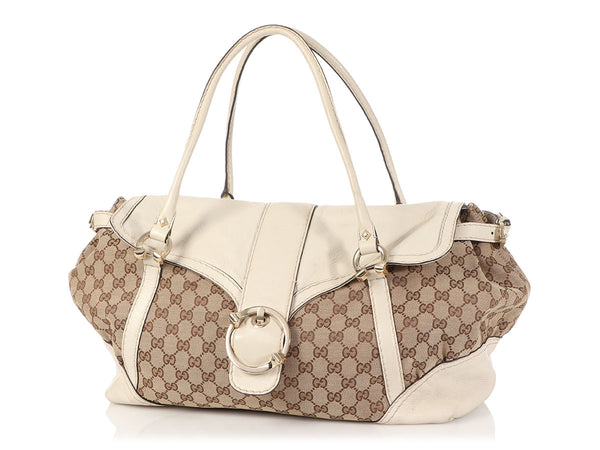 Gucci White Leather and Canvas Satchel