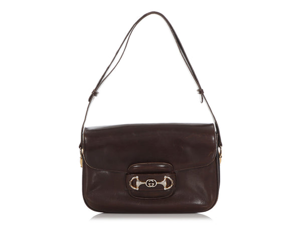 Gucci Vintage Brown Leather Horse Bit Shoulder Bag