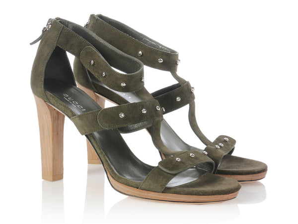 Gucci Green Suede Studded Sigourney Sandals