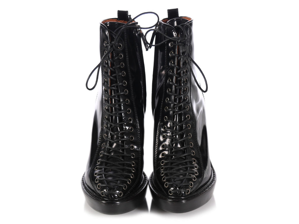 Givenchy Black Patent Lace-Up Wedge Ankle Boots