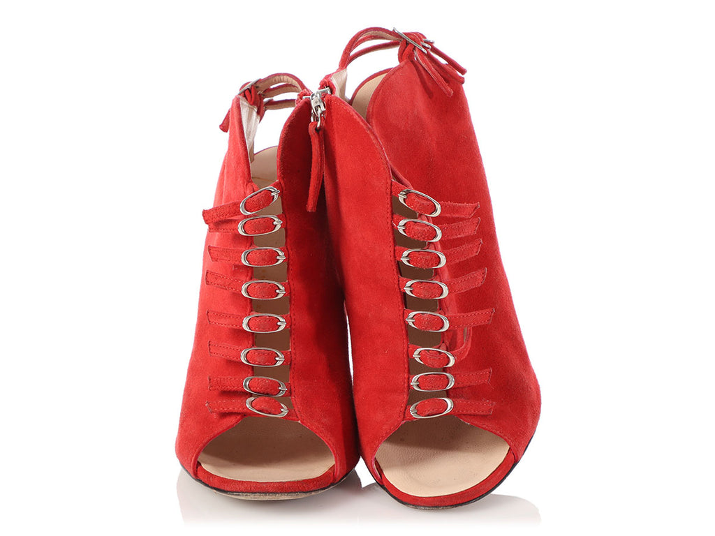 Giuseppe Zanotti Red Suede Strappy Open-Toe Booties