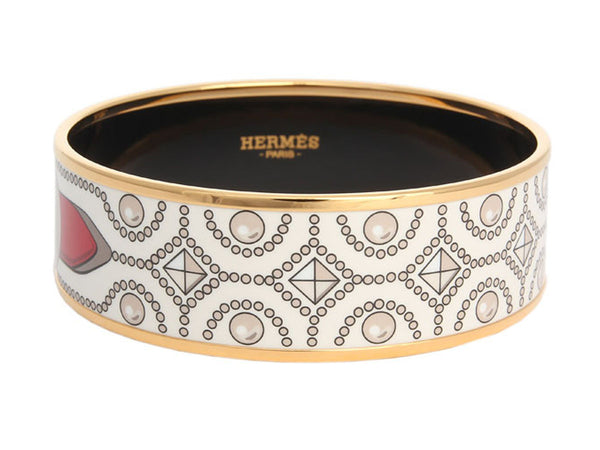 Hermès Wide White Collier de Chien PM Bangle