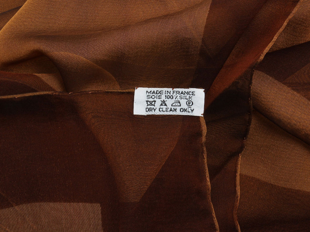 Hermès Brown Chiffon Shawl