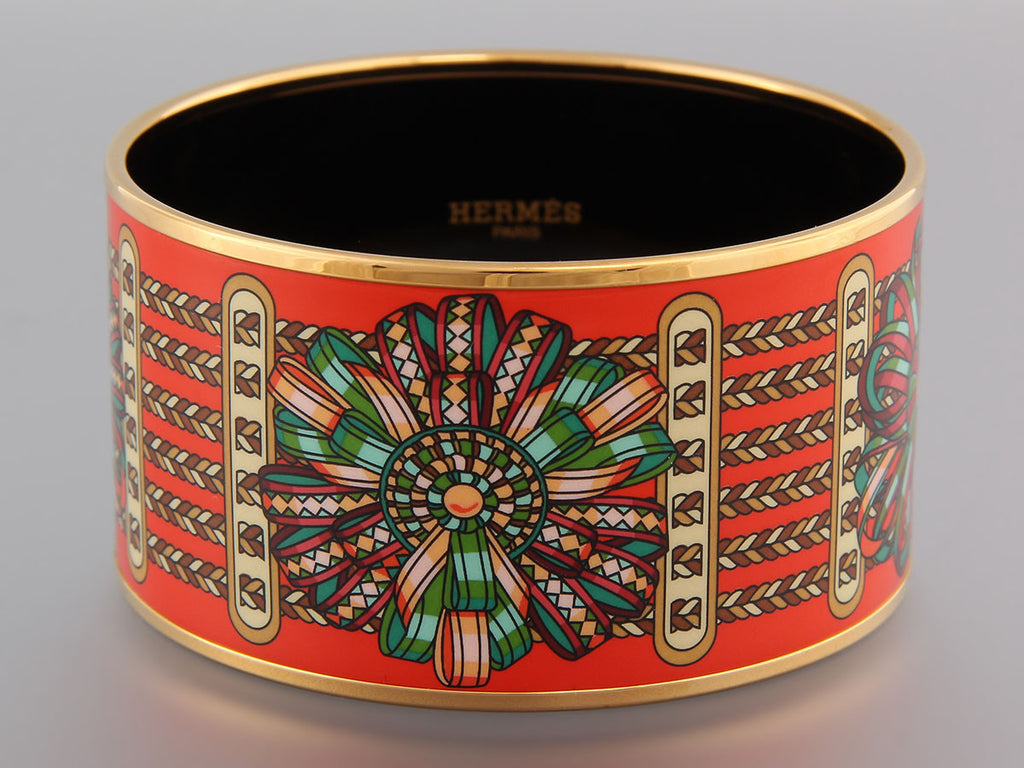 Hermès Extra Wide Les Rubans du Cheval Enamel Bangle