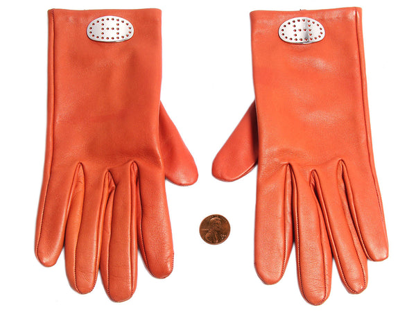 Hermès Orange Leather Gloves