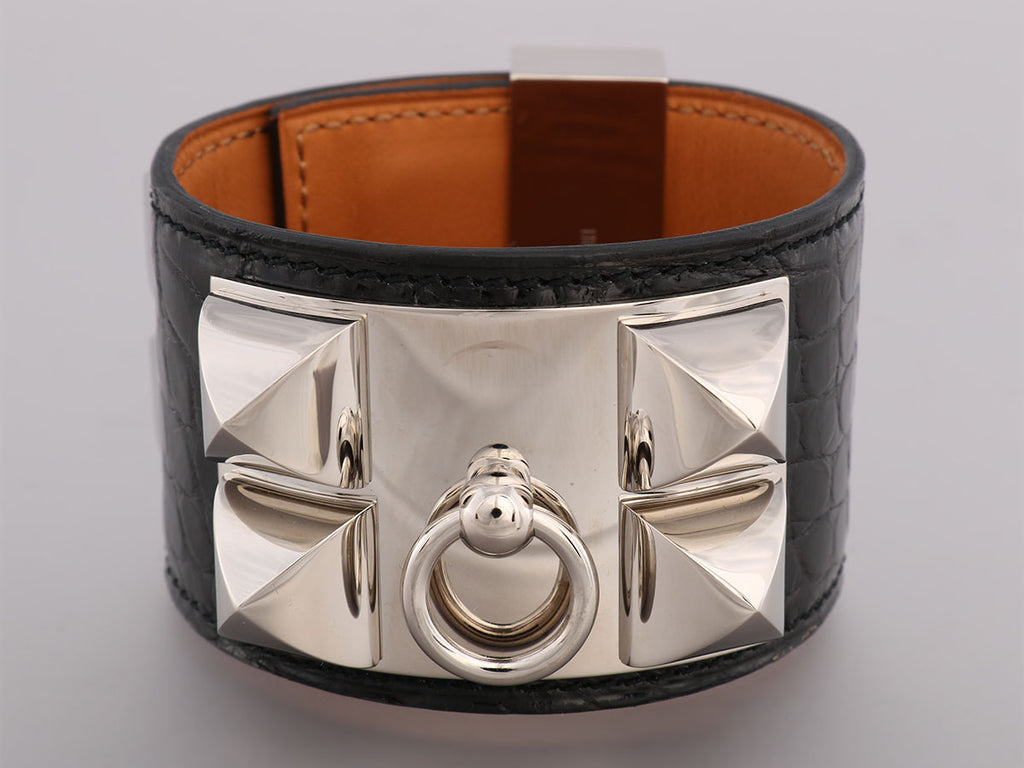 Hermès Black Alligator Collier de Chien Bracelet