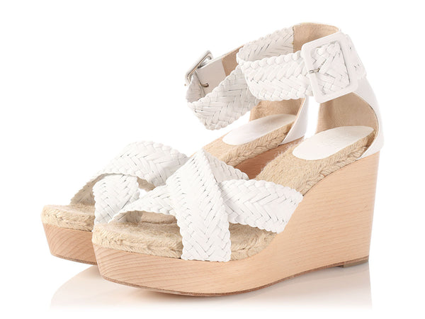 Hermès White Braided Espadrille Wedges