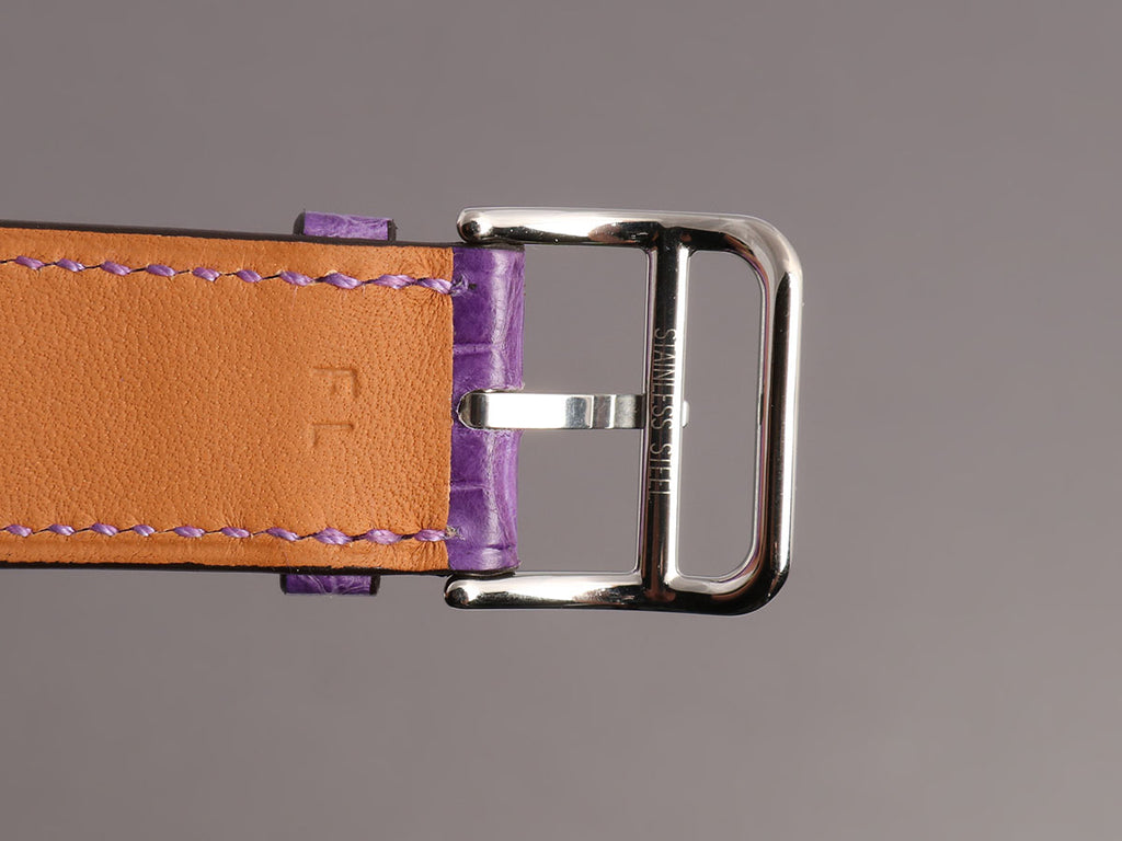 Hermès Amethyst Alligator H Hour MM Watch Strap