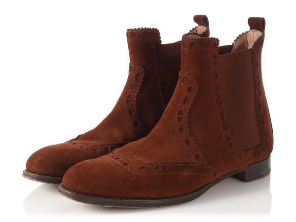 Hermès Brown Suede Partinghton Ankle Boots
