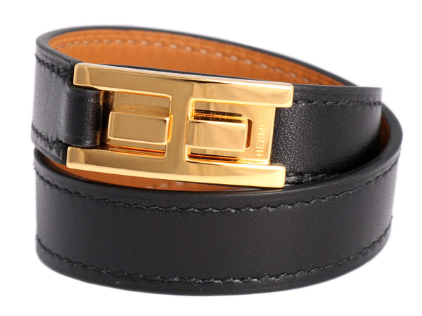 Hermès Black Drag Double Tour Bracelet