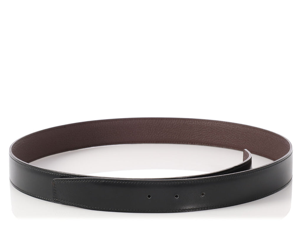 Hermès Black and Brown 32mm Belt Strap
