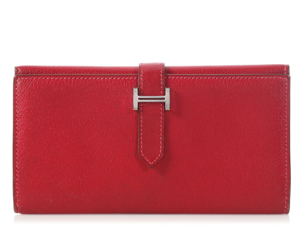 Hermès Red Béarn Trifold Wallet