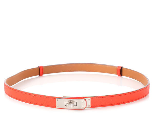 Hermès Orange Poppy Kelly Belt