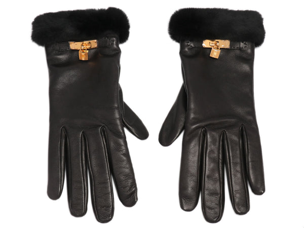 Hermès Black Lambskin and Mink Princess Gloves