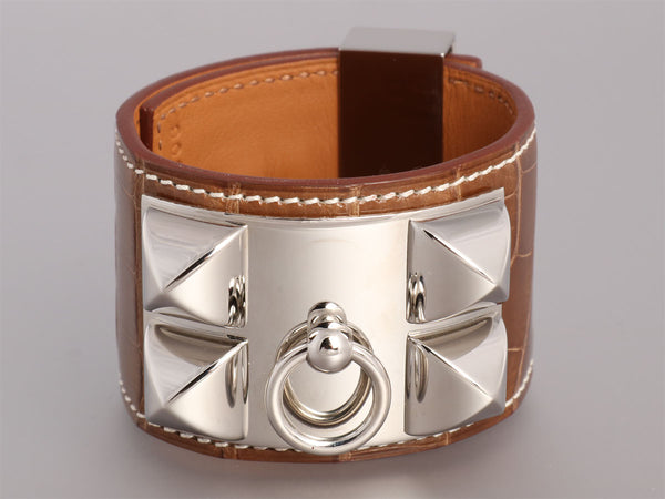 Hermès Ficelle Shiny Alligator Collier de Chien CDC Bracelet