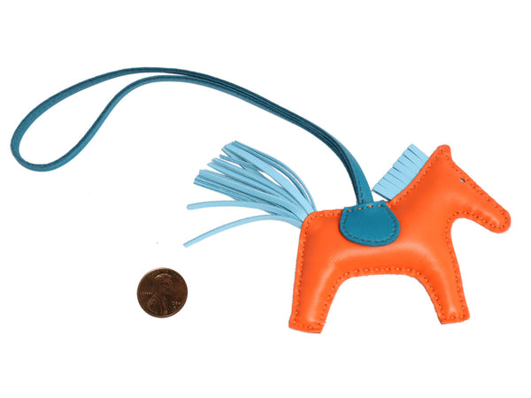 Hermès Orange and Blue Lambskin Grigri Rodeo Horse Bag Charm PM