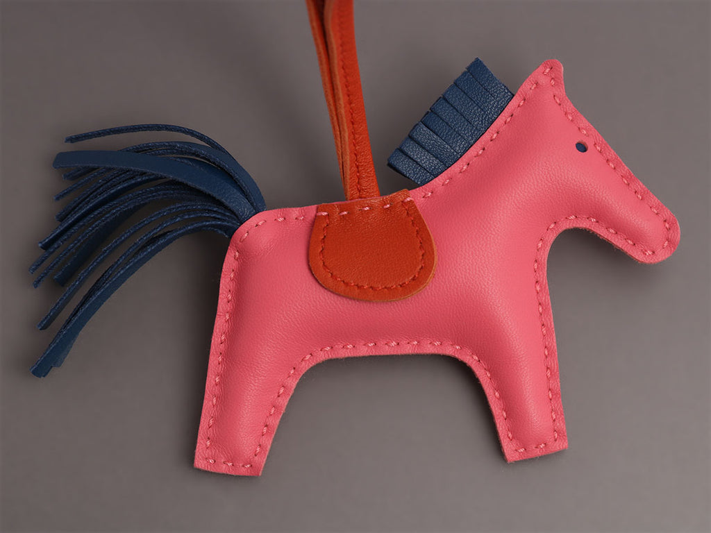 Hermès Pink, Blue, and Carnelian Lambskin Grigri Rodeo Horse Bag Charm PM