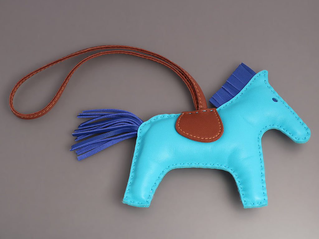 Hermès Blue and Fauve Lambskin Grigri Rodeo Horse Bag Charm MM