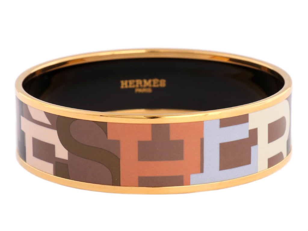 Hermès Wide Capitales Enamel Bangle PM
