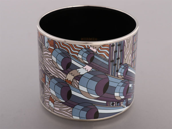 Hermès Mega Wide Point D'Orgue Colorisé Enamel Bracelet PM
