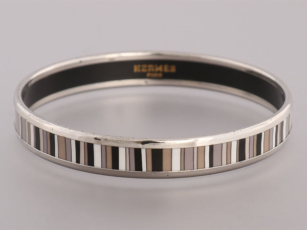 Hermès Narrow Gris, Blanc, and Noir Enamel Stripes Bangle PM