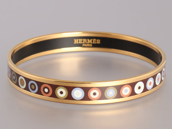 Hermès Narrow Dancing Circles Enamel Bangle PM