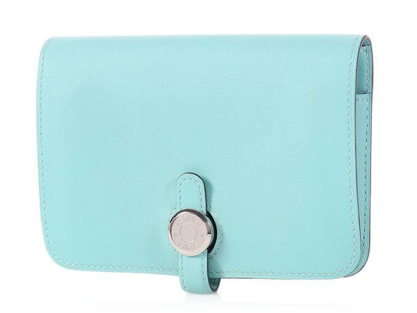 Hermès Bleu Atoll Swift Dogon Compact Wallet