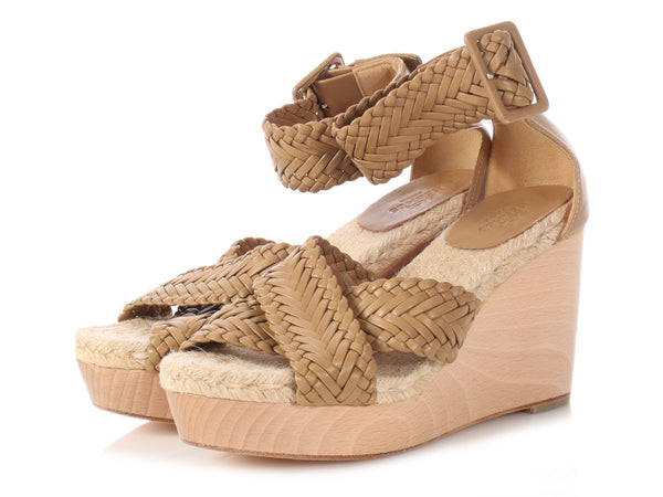 Hermès Brown Braided Espadrille Wedges