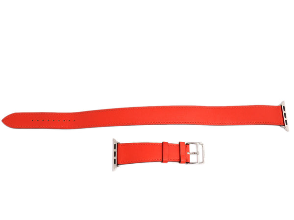 Hermès Red Leather Double Tour Watch Strap