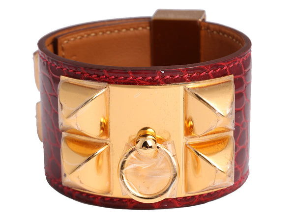 Hermès Rouge H Shiny Alligator Collier de Chien CDC Bracelet