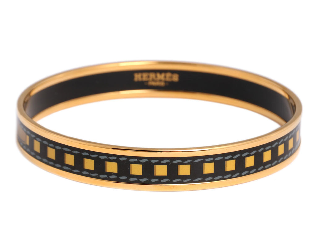 Hermès Narrow Enamel Belt Pattern Bangle