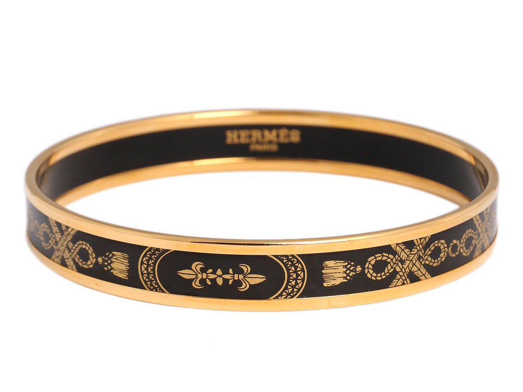 Hermès Narrow Gold and Black Enamel Grand Apparat Bangle
