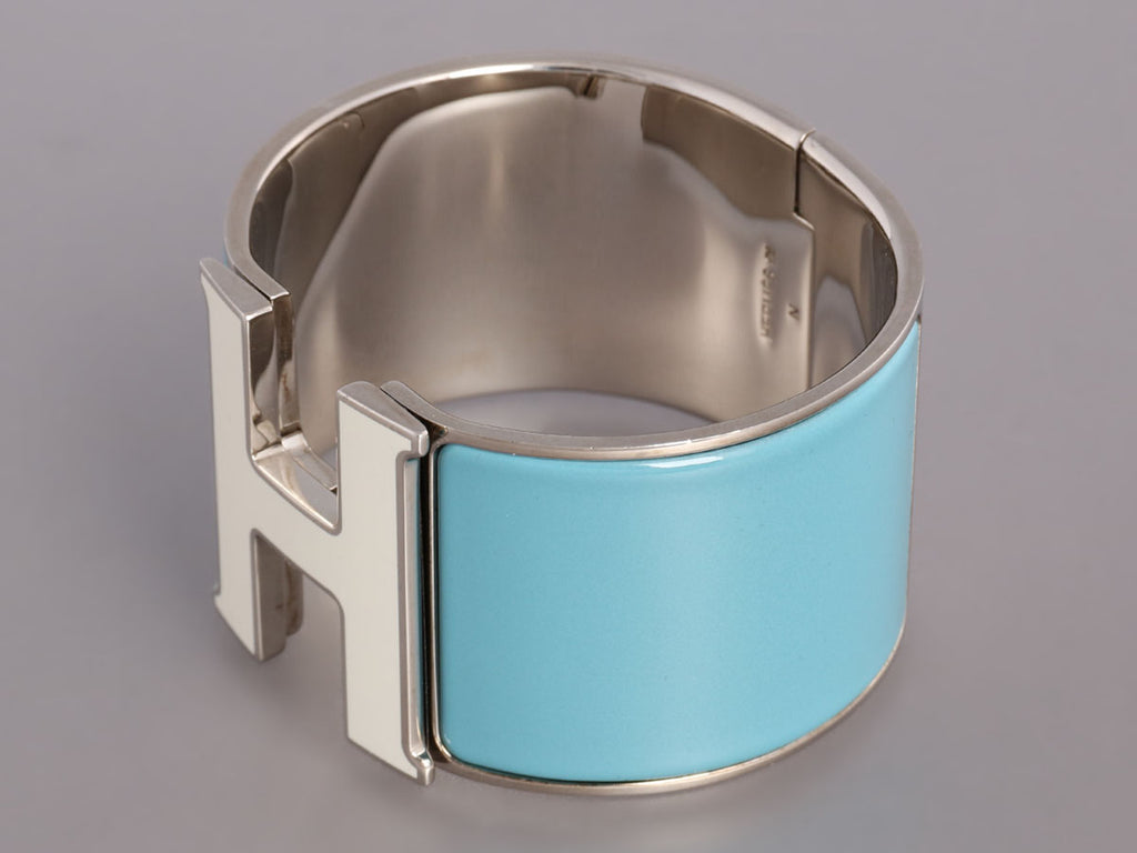 Hermès Extra Wide Blue and White Clic-Clac Bracelet