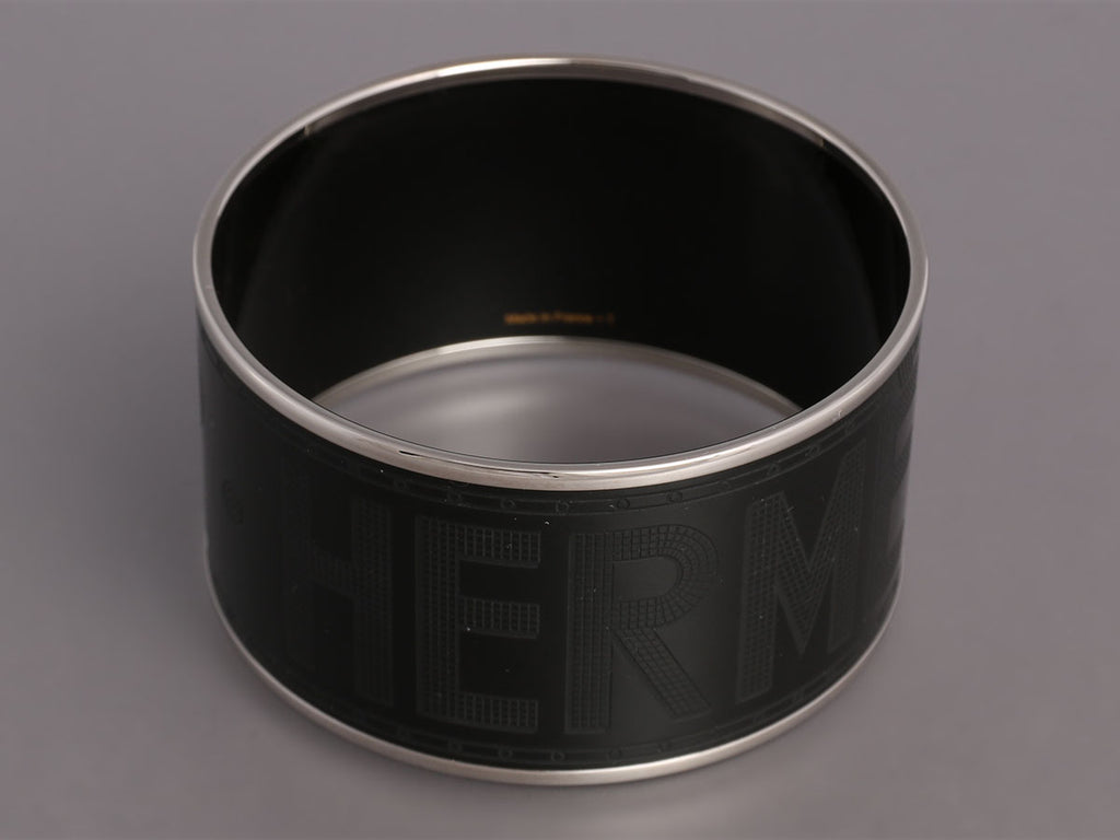 Hermès Extra Wide Black Sellier Bangle