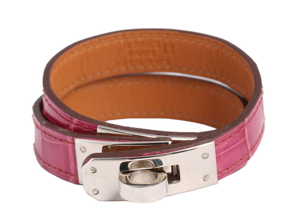 Hermès Pink Alligator Double Tour Bracelet