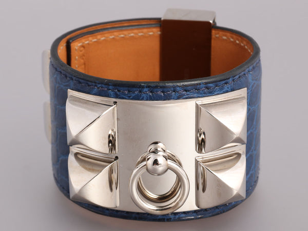 Hermès Blue Matte Alligator Collier de Chien CDC Bracelet